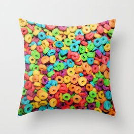 Fruit Loops Cereal Throw Pillow