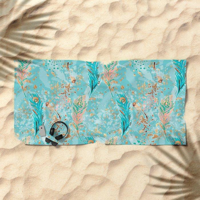 Feather peacock peach mint #8 Beach Towel