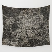 madrid Wall Tapestries featuring madrid map ink lines by Les petites illustrations