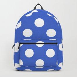 Han blue - blue - White Polka Dots - Pois Pattern Backpack