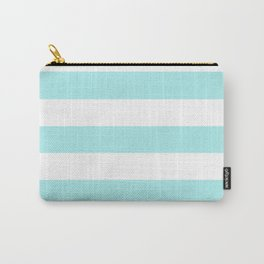 Pale turquoise - solid color - white stripes pattern Carry-All Pouch
