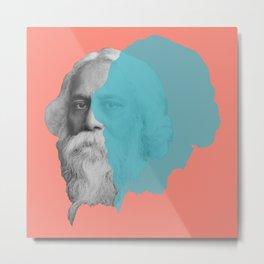 Rabindranath Tagore portrait - orange blue Metal Print