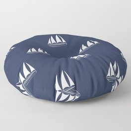 White Sailboat Pattern on navy blue background Floor Pillow