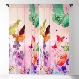 Blush Butterflies & Flowers Blackout Curtain