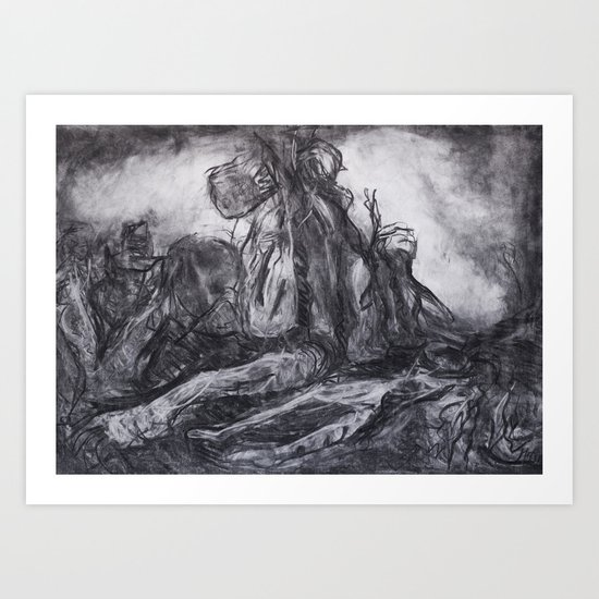 """Unknown Liberty"" - original abstract charcoal drawing Art Print"