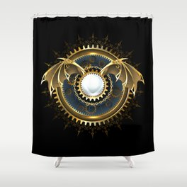 Mechanical Dragon Wings with a Lens ( Steampunk ) Shower Curtain