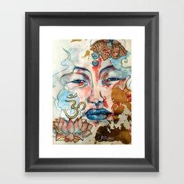 Buddah, lotus and OM Framed Art Print