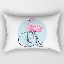 Cute flamingo on vintage bike. Rectangular Pillow
