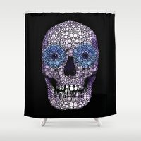 crossfit Shower Curtains featuring Skull Art - Day Of The Dead 2 Stone Rock'd by Sharon Cummings