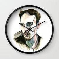 depression Wall Clocks featuring Portrait of Depression by ArtbyLumi