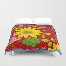 Sunflower on Red Duvet Cover