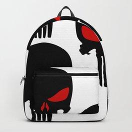 Black red Punisher Skull Pattern Backpack