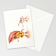 Rainy Day - Girl in a Yellow Rain Coat with Read Umbrella and with a Goose Stationery Cards