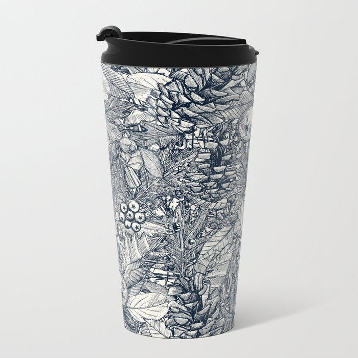 forest floor indigo ivory Metal Travel Mug