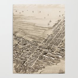 Vintage Pictorial Map of East Boston (1879) Poster