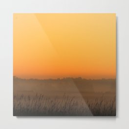 Foggy Prairie Fall Sunrise Metal Print