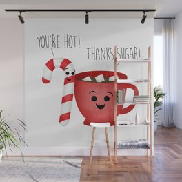You're Hot! Thanks Sugar! Candy Cane & Hot Chocolate Couple Wall Mural