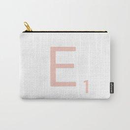 Pink Scrabble Letter E - Scrabble Tile Art Carry-All Pouch