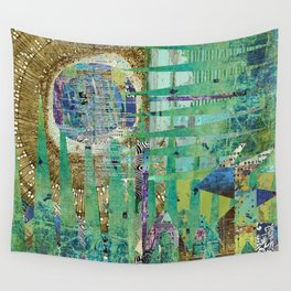 Teal Brown Blue Seed Abstract Art Collage Wall Tapestry