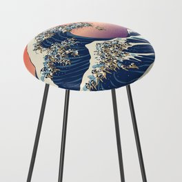 The Great Wave of Pug Counter Stool