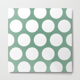 Large Polka Dots: Sea Foam Green Metal Print