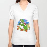 yoshi V-neck T-shirts featuring Yoshi! by DoberJam
