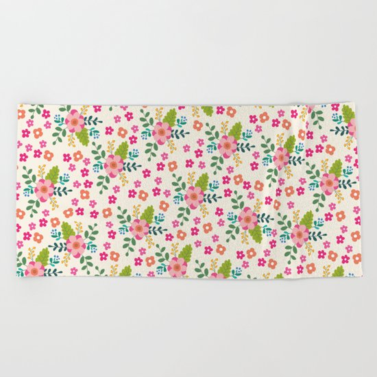 Pink Fuchsia Spring Flower Pattern Beach Towel