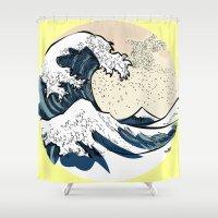 manga Shower Curtains featuring japan manga sea hokusai by gran mike