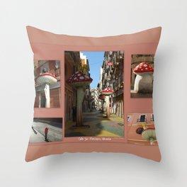 Street Of Giant Mushrooms Throw Pillow
