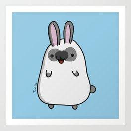 Bobby the White Kawaii Bunny Art Print