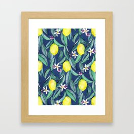 When Life Gives You Lemons - blue Framed Art Print