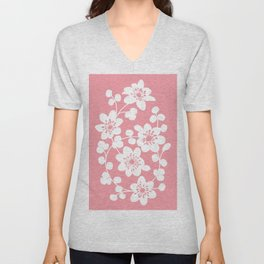 White flowers on a bubblegum pink background Unisex V-Neck