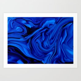Blue Liquid Marbled texture Art Print