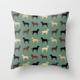 Labrador Retriever Dog Silhouettes Pattern Throw Pillow