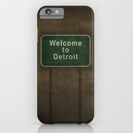 Welcome to Detroit highway road side sign iPhone Case