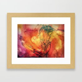 A leaf In The Wood Aflame Abstract Framed Art Print