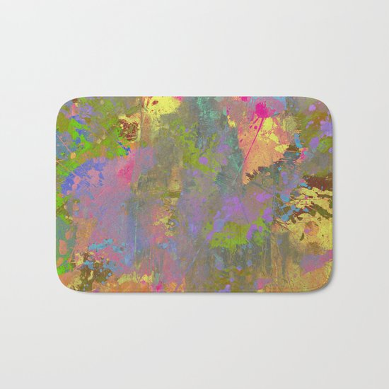 Messy Art II - Abstract, pastel coloured artwork in a random, chaotic, messy style Bath Mat