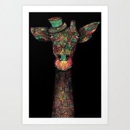 Tiny Hat Giraffe Art Print