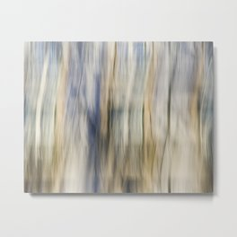 Soft Blue and Gold Abstract Metal Print