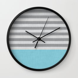 Blue and gray stripes and color block Wall Clock