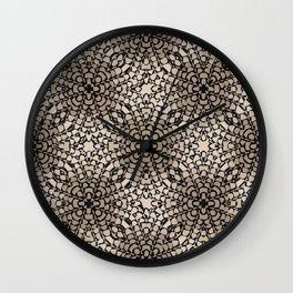 Black and Tan Geometric Modern Chrysanthemum Pattern Wall Clock