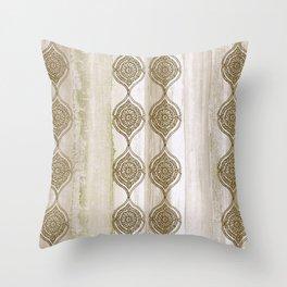 Tonal Watercolor Stripes with Mandala Throw Pillow
