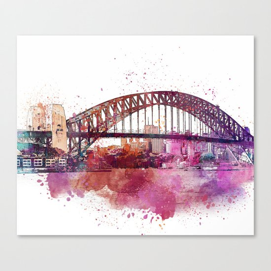 Sydney Harbor Bridge Watercolor Art Canvas Print