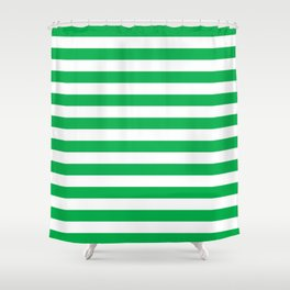 Horizontal Green Stripes Shower Curtain