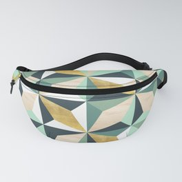 Geometric Pattern with Gold, Natural Wood and Greens Fanny Pack