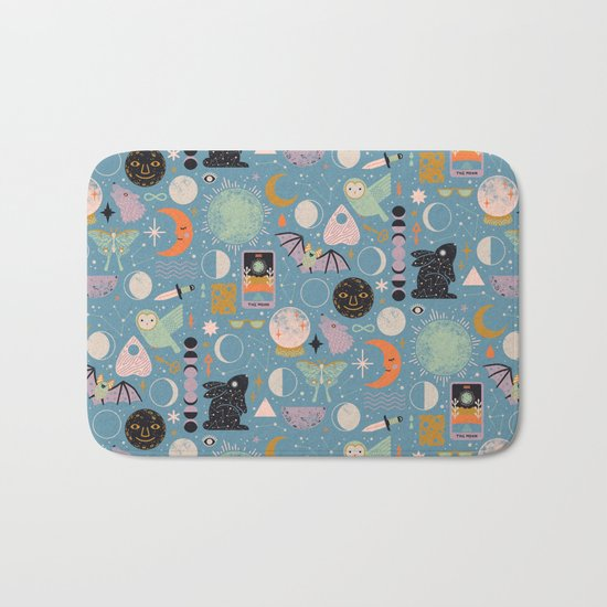 Lunar Pattern: Blue Moon Bath Mat