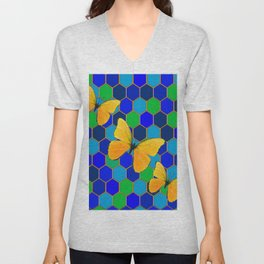 YELLOW BUTTERFLIES ON GREEN-BLUE ABSTRACT Unisex V-Neck