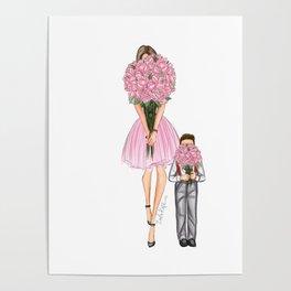 Mother's day little boy brunette Poster