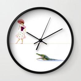Haunted Tightrope Girl And Gator Wall Clock