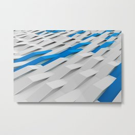 White plastic waves with blue elements Metal Print